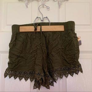 Green boho shorts